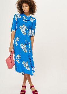 Topshop Floral Print Jacquard Midi Dress