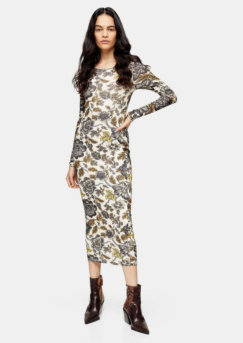 Topshop Floral Print Mesh Midi Dress