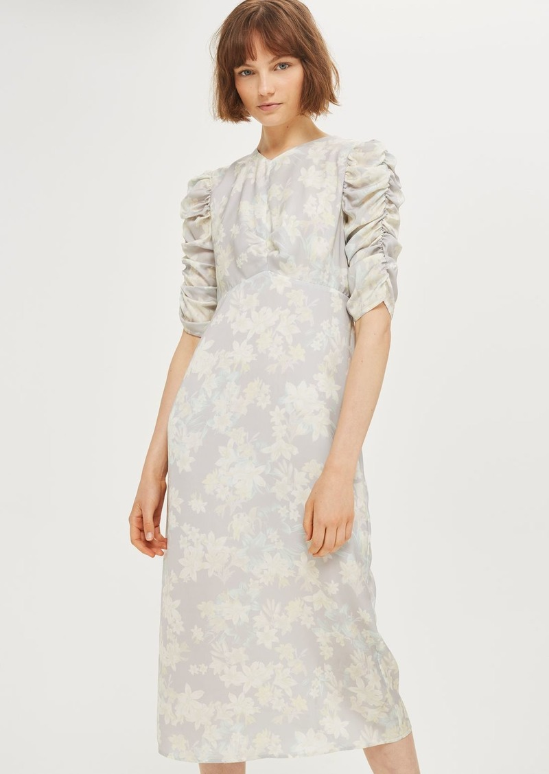 Topshop Floral Print Midi Shift Dress