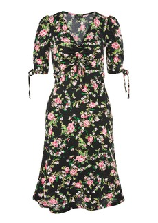 Topshop Dark Floral Ruched Midi Dress
