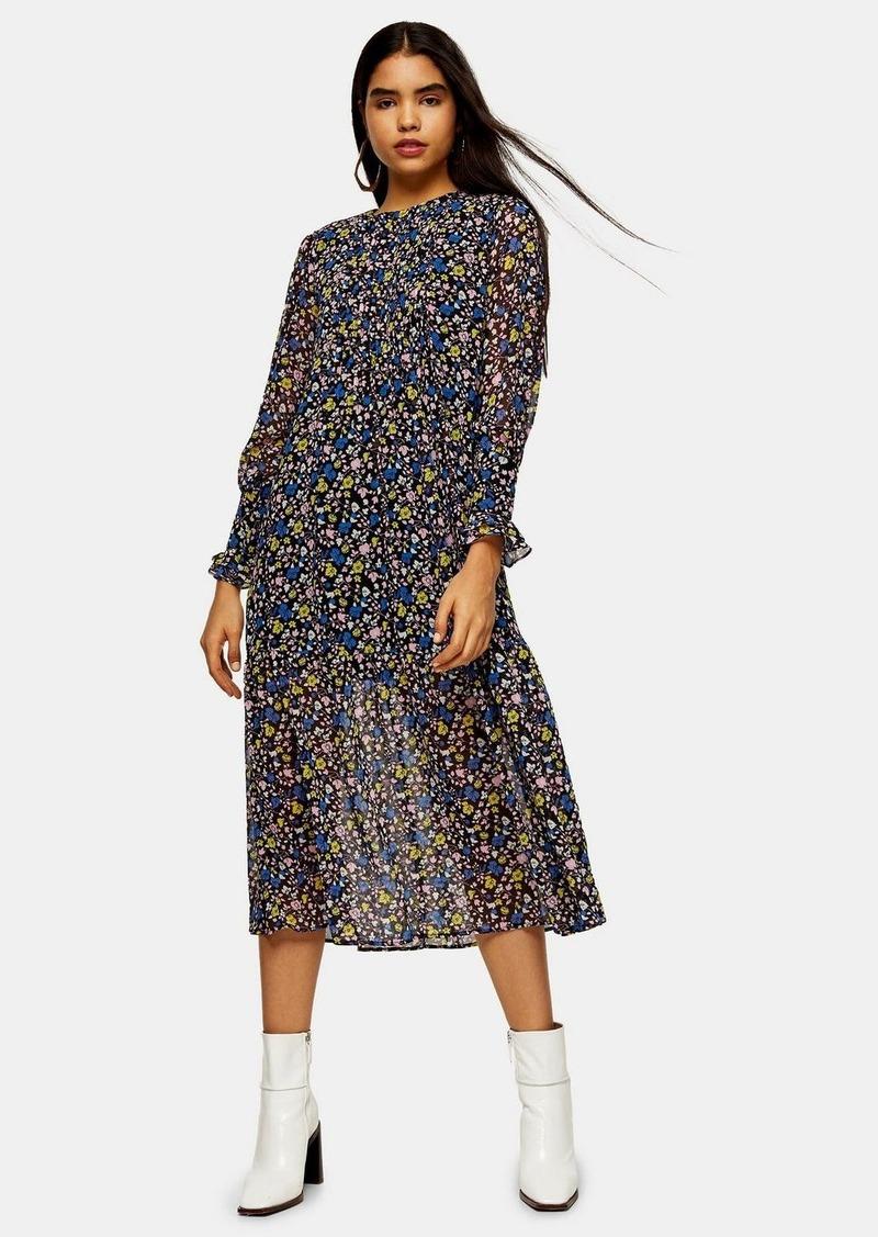 Topshop Floral Print Pintuck Chuck On Dress