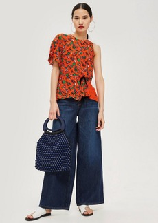 Topshop Floral Print Ruched Top