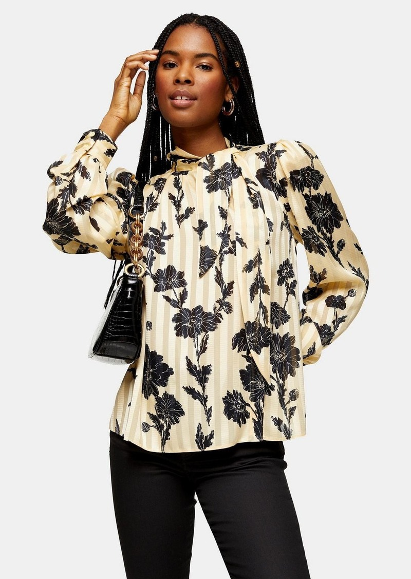 Topshop Floral Print Stripe Blouse