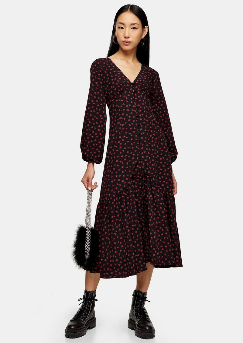 Topshop Floral Rose Print Button V Neck Midi Dress