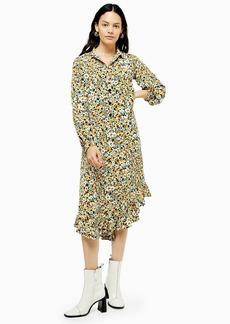 Topshop Floral Ruffle Hem Shirt Dress