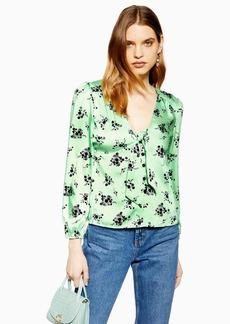 Topshop Floral Tie Front Blouse