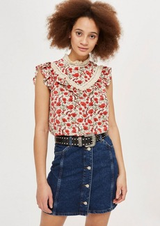 Floral Trim Shell Top