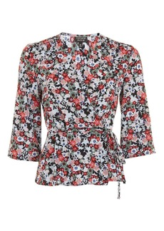 Topshop Flower Wrap Blouse