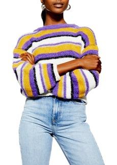 Topshop Fluffy Stripe Sweater