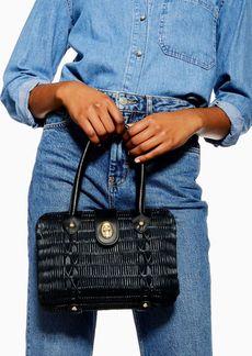 Topshop Flux Black Wicker Straw Grab Bag
