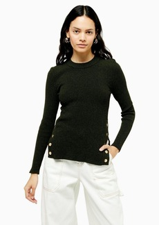 Topshop Forest Green Knitted Button Side Top