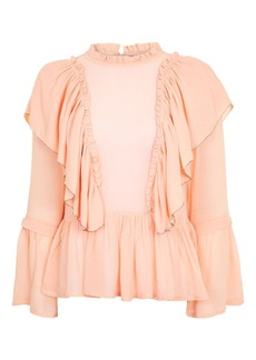 Topshop Georgette Ruffle Blouse