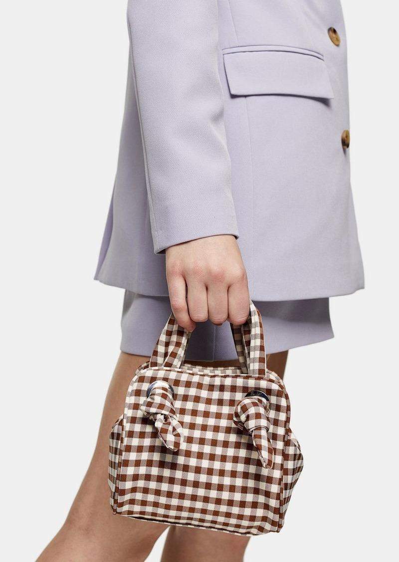 Topshop Gigi Brown Gingham Knot Cube Grab Bag
