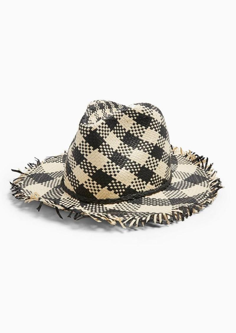Gingham Fedora Straw Hat