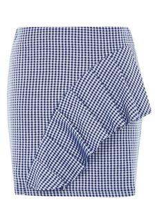 Gingham Ruffle Jersey Mini Skirt