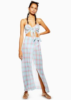 Topshop Gingham Wrap Beach Skirt
