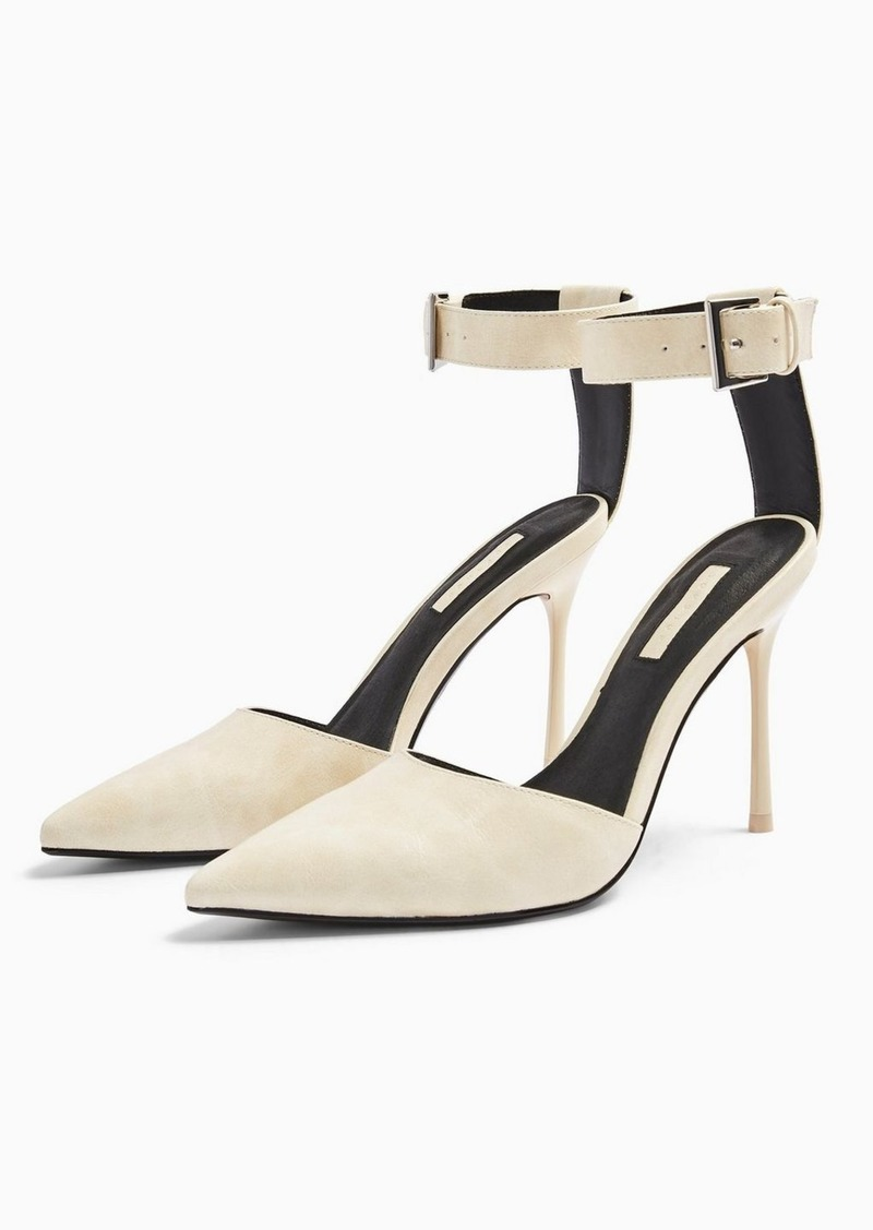 Topshop Glide White Ankle Strap Shoes