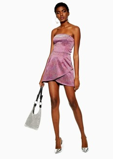 Topshop Glitter Bandeau Mini Dress
