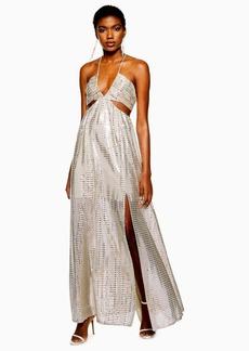 Topshop Glitter Cut Out Maxi Dress
