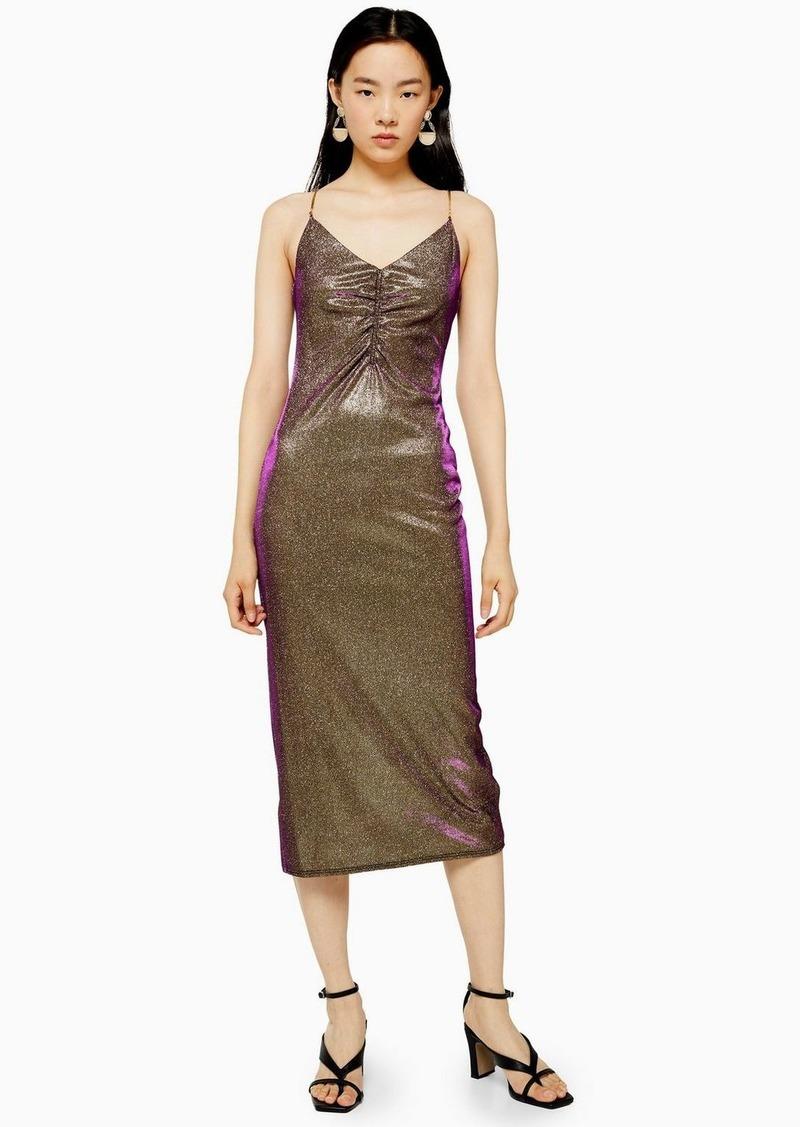 Topshop Glitter Midi Slip Dress