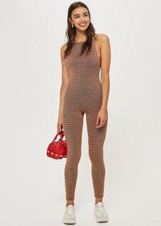 Topshop Glitter Stripe Jumpsuit
