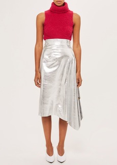 Topshop Godet Leather Skirt By Boutique