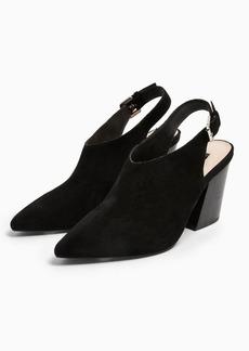 Topshop Goji Black Leather Slingback Western Heels
