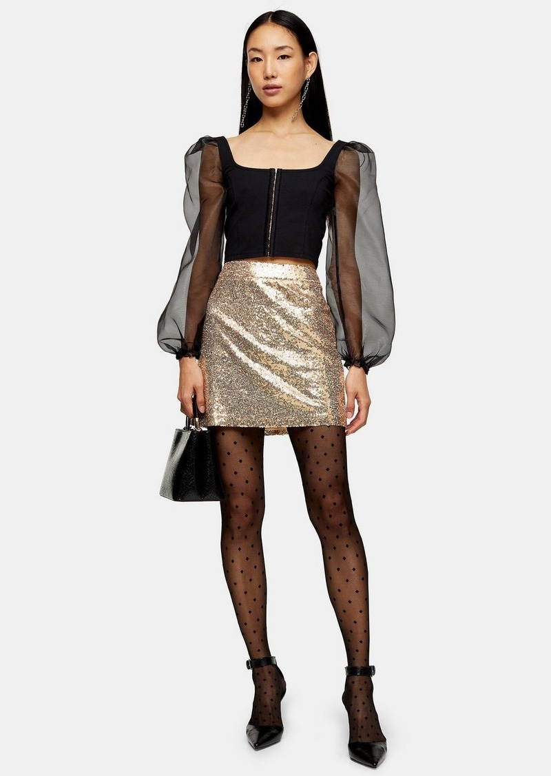 Topshop Gold Sequin Mini Skirt