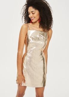 Gold Vinyl Pinafore Dress