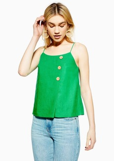 Topshop Green Button Wrap Camisole With Linen