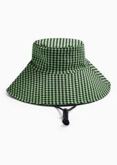 Topshop Green Check Tie Wide Bucket Hat