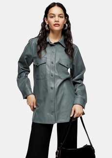 Topshop Green Faux Leather Shirt