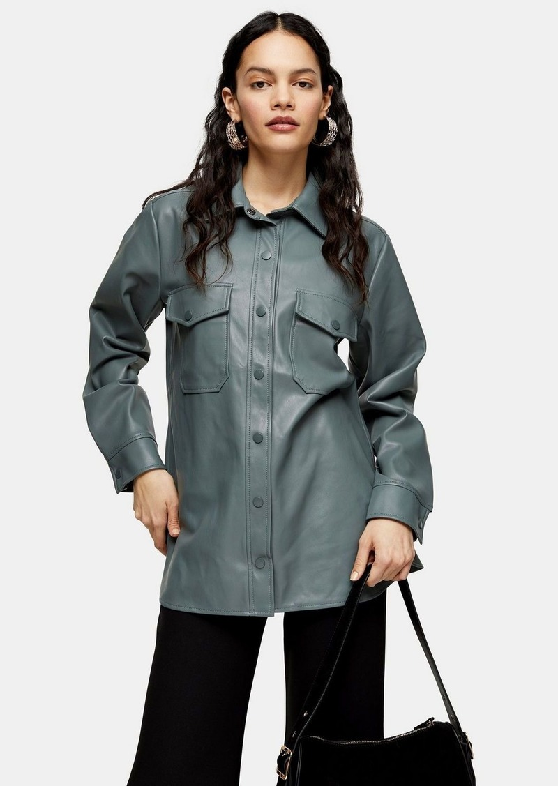Green Faux Leather Shirt