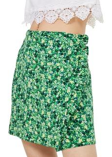 Topshop Green Meadow Ruffle Miniskirt