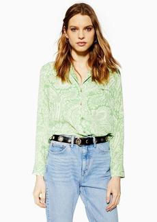 Topshop Green Paisley Shirt