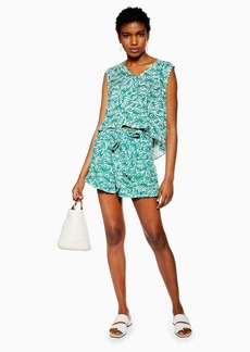 Topshop Green Palm Frill Hem Shorts