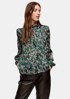 Topshop Green Printed Pussybow Blouse