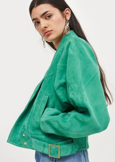 Topshop Green Suede Jacket