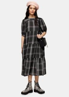 Topshop Grey Check Chuck On Midi Dress