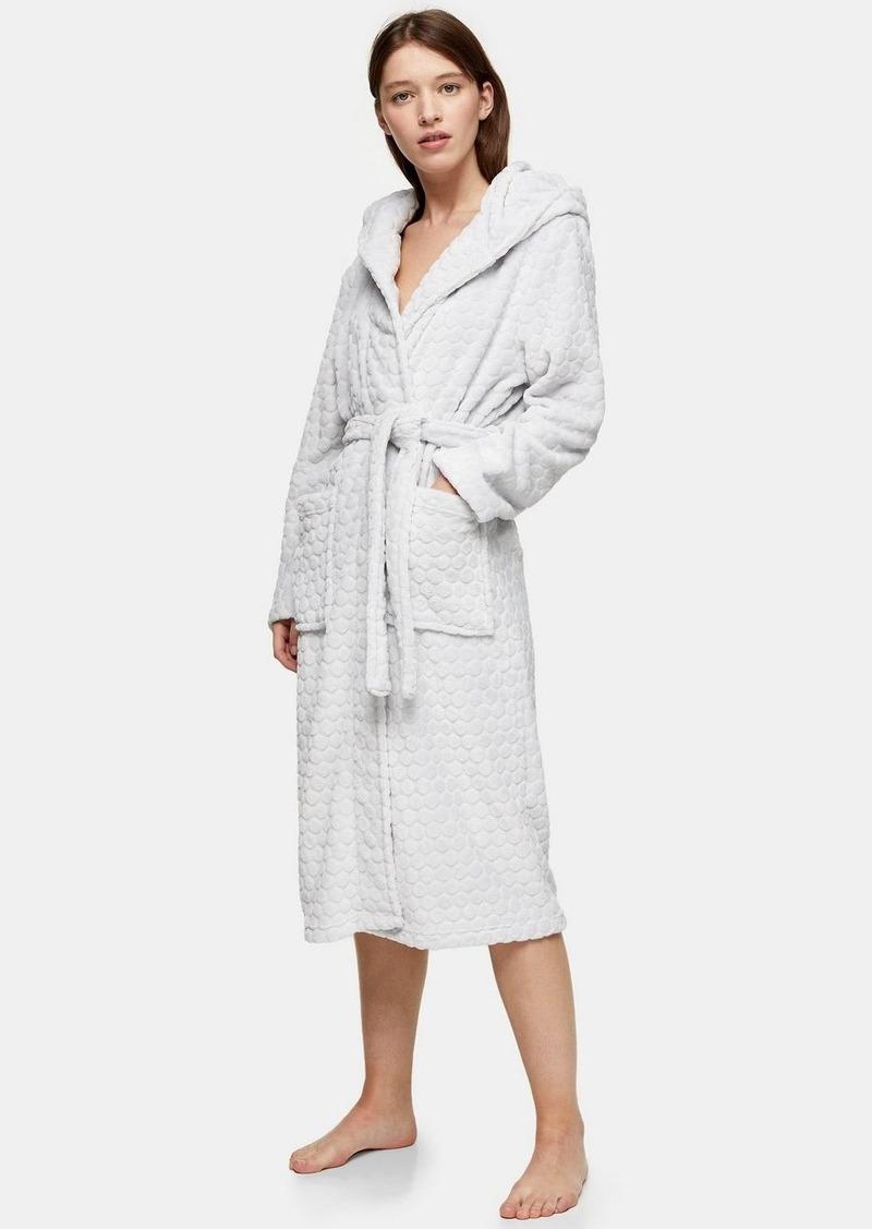 Topshop Grey Long Spot Textured Dressing Gown