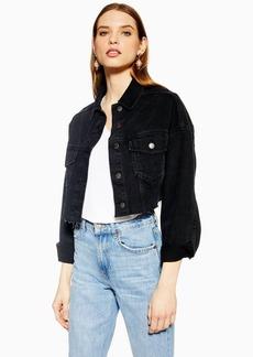 Topshop Hacked Off Denim Cropped Jacket