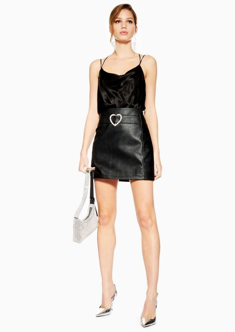 Topshop Heart Buckle Faux Leather Pu Mini Skirt