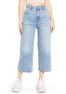 Topshop High Waist Crop Flare Nonstretch Jeans (Bleach Blue)