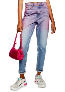 Topshop High Waist Ombre Mom Jeans (Pink Multi)