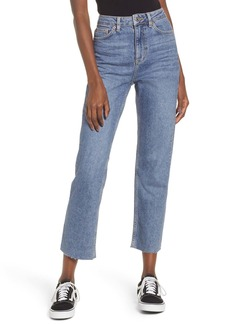 Topshop High Waist Raw Hem Jeans