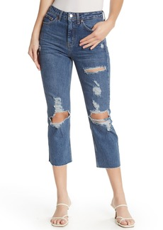 Topshop High Waisted Distressed Cropped Jeans