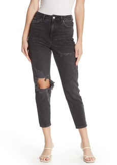 Topshop High Waisted Tapered Distressed Jeans