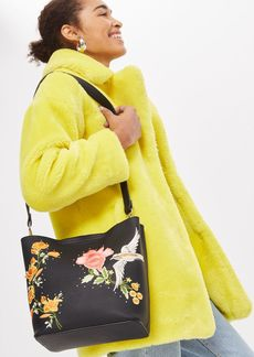 Topshop Holly Bird Embroidered Hobo Bag