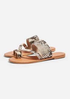 Topshop Honey Leather Snake Flat Sandals