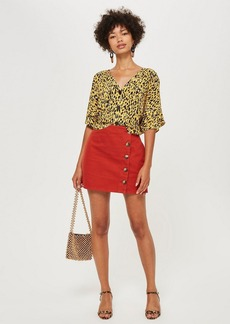Topshop Horn Button A Line Denim Skirt